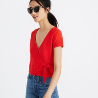 Texture & Thread Wrap-Tie Top : shopmadewell short-sleeve tees | Madewell