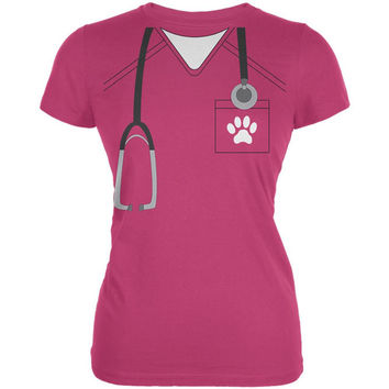 Halloween Vet Veterinarian Scrubs Costume Juniors Soft T Shirt