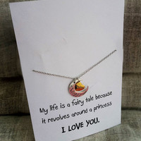I Love you Daughter to the Moon and Back Heart and Moon Pendants Gift holidays Christmas Present Woman Necklace