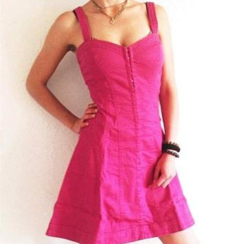 Betsey Johnson Vintage Pink denim Dress size 6