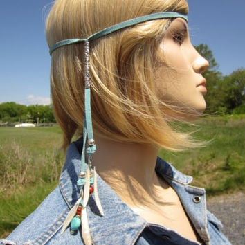 BOHO Hair Jewelry Hippie Headband Leather Hair Wrap Turquoise & Shell Bead Hair Tie Braid Ponytail Holders Bead Hair Extensions