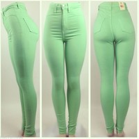High Waist Mint Skinny Jean Pants NEW Spring Color!
