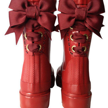 Timber & Tamber French Bow Rain Boots Children Child Gumboots Rubber Burgundy