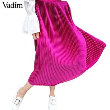 Women velvet pleated solid skirts vintage midi side zipper casual wear chic mid calf skirts