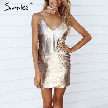 Simplee Deep v neck gold sequin sexy dress Women summer backless black short dress Elegant party club dresses vestidos de festa