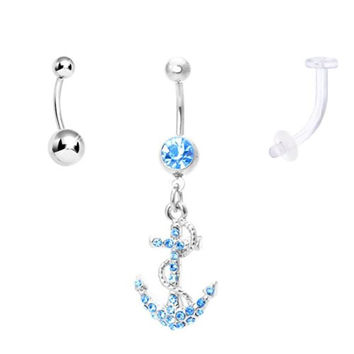 Belly Button Ring Anchor with Curved Belly Ring Surgical Steel and Bioplast Retainer 14 Gauge (3 Pieces)