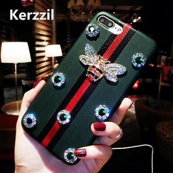 Kerzzil Luxury Rhinestones Bee Case For iPhone 7 6 6S 8 Plus PU Geometric Texture Leather Diamond Cover Back For iPhone X 6 7 6S