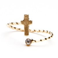 Cross and Diamond Gold Ring