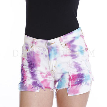 Janice Tie Dye Pink White Blue Cut Off Short High Waisted Vintage Shorts