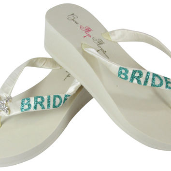 Jade Starfish Rhinestone Flip Flops in Ivory or White