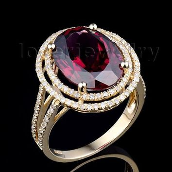 Amazing  Oval 11x13mm Solid 14Kt Yellow Gold Diamond Garnet Engagement Ring 2T018