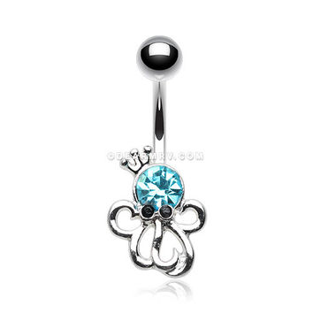 Octopus King Sparkle Belly Button Ring (Aqua)