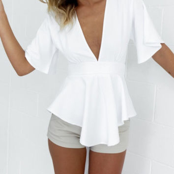 Chiffon Sexy Backless Ruffle Strappy V Neck Erotic Shirt Blouse Top Casual Party Playsuit Clubwear Bodycon Boho Top Shrit T-Shirt _ 4494
