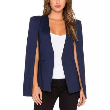 PEAPUNT Trendy Sexy V-Neck Splice Open Sleeve Shawl Style Blazer Cape Fashion Women Autumn Solid Color OL Suit Jacket Coat Outwear Tops