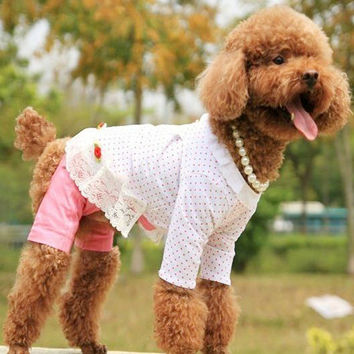 Three Flower Cotton Shirt for Cute Dog's & Adorable Pet's Fashion Clothing-Size S