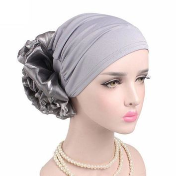 DCCK8JO Winter Beanie Hat Women Cancer Chemo Hat Turban Head Wrap Cap Solid Fitted Big Flower Hat Feminino Beanies Hat