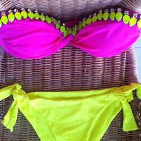 Fuschia HANDMADE swimsuit  with yellow crystal stones-spandex strapless swimsuit in neon colour