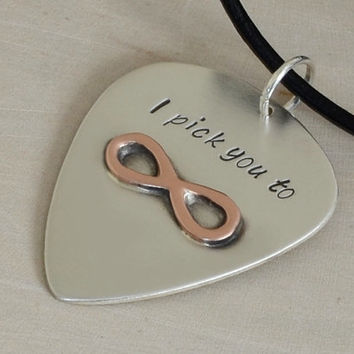 Silver Guitar Pick Necklace with Brazed Copper Infinity and I Pick You for you to Personalize in Solid 925 Sterling Silver