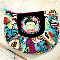 Frida and the yellow bird  - Original Handmade Pouch Pencil case with illustration by Danita Art