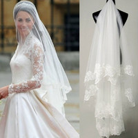 Lacey Bridal Veil (White) (Color: White) = 1932684996