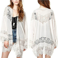 Plus size Womens Casual Vintage Boho Kimono Cardigan Lace Crochet Chiffon Loose Outwear Blouse Tops Beige Black White