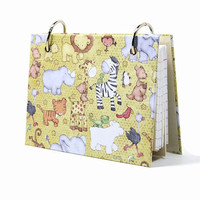 Baby zoo animals 3 x 5 index card binder, baby journal book with tab dividers, index card holder, baby shower gift