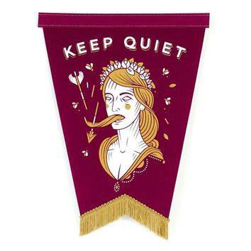Keep Quiet Pennant - Burgundy