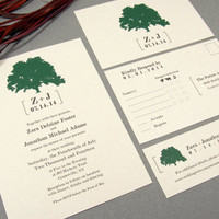 Modern Rustic Leafy Tree Wedding Invitation Set by RunkPock Designs : Nature Organic Outdoor Wedding shown in ivory / forest green / brown