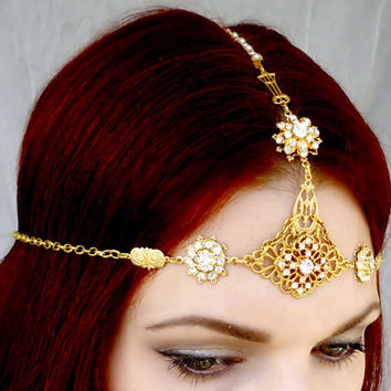 Gold Headpiece - Art Deco Rhinestone Headdress - Gypsy Indian Medieval One of a Kind