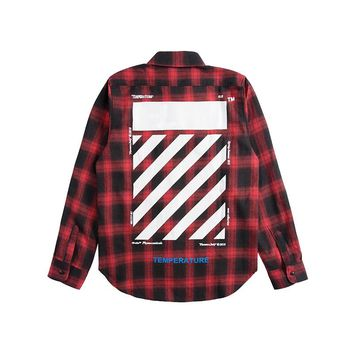 OFF WHITE 2018 new stripe speed bumper plaid box men and women long-sleeved shirt Red+black