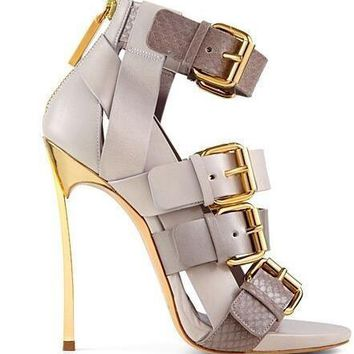 Ankle Buckle Peep Toe Sandals Women Blade Heel Back Zipper Cut-out Gladiator Sandal Boots.