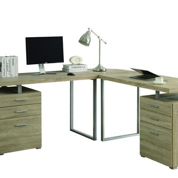 Natural Reclaimed-Look 3Pc Desk Set (2 Desks + 1 Corner Wedge)