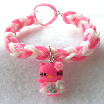 Rainbow Loom Stretchy Bracelet in Pink and White with Kitty Charm