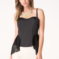 bebe Womens Chiffon Side Overlay Top