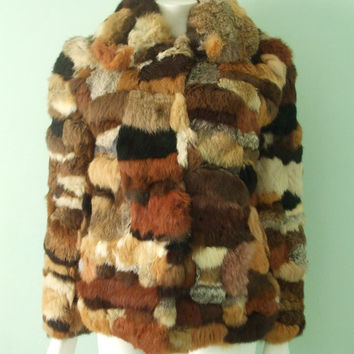 Vintage Unisex Calico Patchwork Rabbit Fur Coat S M by VIMLUXON