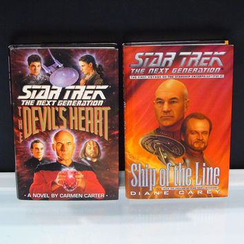 Star Trek Book Bundle The Next Generation Fiction Novels Ship Of The Line 1997 Diane Carey The Devils Heart 1993 Carmen Carter Sci Fi Books