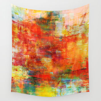 AUTUMN HARVEST - Fall Colorful Abstract Textural Painting Warm Red Orange Yellow Green Thanksgiving Wall Tapestry by EbiEmporium