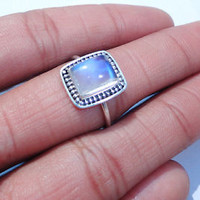 925 STERLING SILVER (Not Plated) Blue RAINBOW MOONSTONE Ring Square Size 7,8