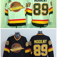 Throwback 89 Alexander Mogilny Jerseys Vancouver Canucks Ice Hockey Sports Road Alternate Black White Embroider Logos