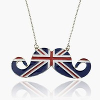 British Themed Mustache Necklace True British Flag Colors