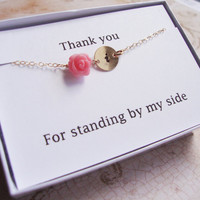 SEVEN Personalized Coral Rose Bridesmaids Bracelets & Thank You Cards SETS, Flower Girls Gifts, Bridal Party Gifts, Wedding Jewelry