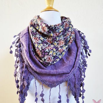 Womens scarf in PURPLE with floral print and mini flower edge - cowl neckwarmer - Autumn Winter