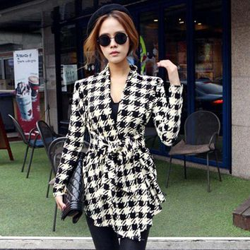 GZDL Fashion Women Autumn Jacket Coat Long Sleeve Houndstooth Casual Open Stitch Slim Belt Cardigan Outerwear Clothing CL0271