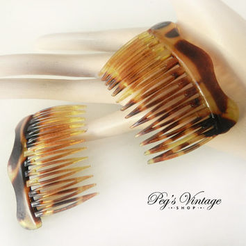 Vintage Faux Tortoiseshell/Celluloid Hair Combs, Set Of Two , Hair Combs Made In France