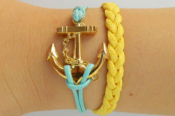 SALE: Golden Anchor Jewelry  Bangle bracelet  minimalist bracelet Gold Anchor bracelet  Men or Women  Soft Leather Bracelet