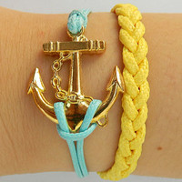 Anchor - antique gold anchor bracelet, anchor wax wire bracelet, woven bracelet