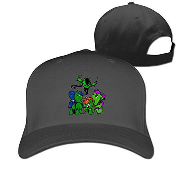 ZULA Geek Unisex-Adult Cartoon Series Four Tortoise My Little Pony Hip Hop Hats Caps Black