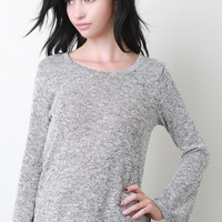 Marled Knit Bell Sleeve Top