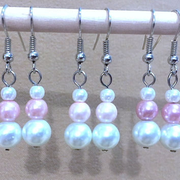 White & Pink Graduated Pearl Dangle Earrings, Handmade Original Design Fashion Jewelry, Classic Elegant Sophisticated Simple Wedding Jewelry