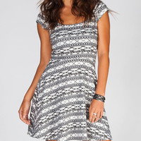 Socialite Tribal Print Cross Back Dress Black Combo  In Sizes
